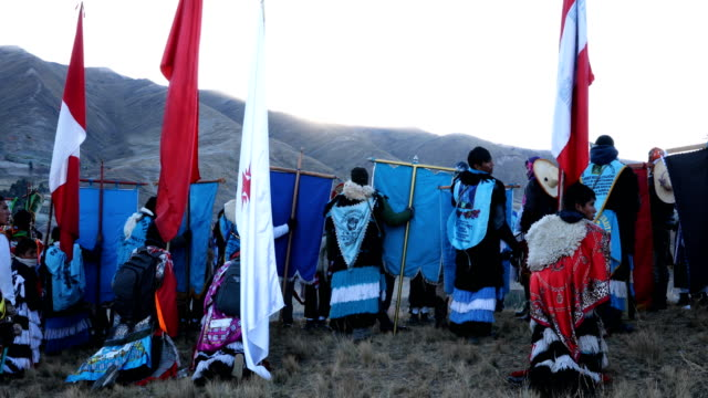 delegations wait for sunrise on the final day of the annual qoyllur rit'i festival on may 30 2018 in mahuayani peru every year since 1783 in the... - religious celebration stock videos & royalty-free footage