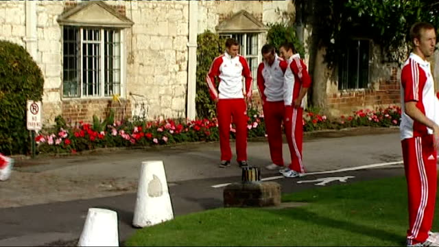 2010 commonwealth games england hockey team departs england berkshire bisham abbey ext various gvs of members of england hockey team along in grounds... - field hockey stock videos and b-roll footage