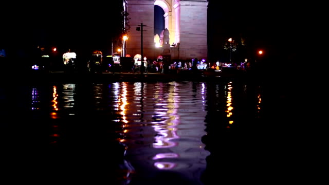 Delhi India Gate, side view At Night