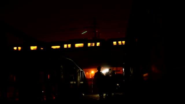 Delhi Metro Train At Night