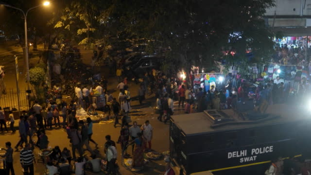 Delhi police SWAT team at a busy market place during the festive season for security reasons