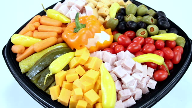 Deli assortment tray. Wide Shot.