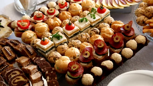Delicacies and snacks at the buffet
