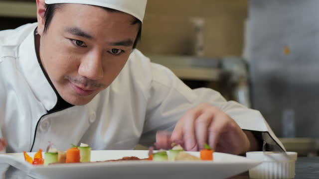 delicate young executive chef decorating his plate and looking very happy. food and drinks concepts. - finishing stock videos & royalty-free footage