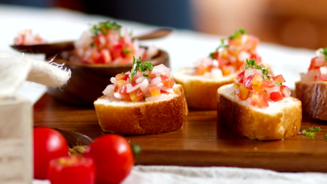 4K Delicious Bruschetta with tomatoes.