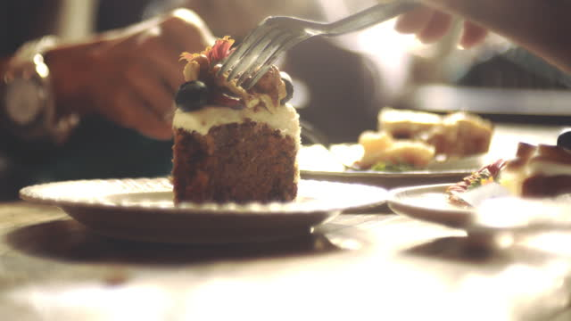 vídeos de stock e filmes b-roll de delicious cake & lifestyles - almoço