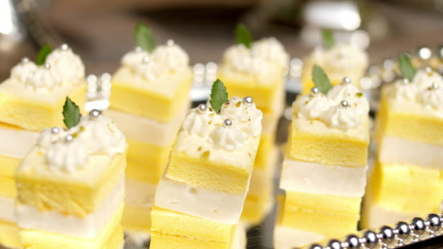 delicious food on elegant plate - dessert stock videos & royalty-free footage