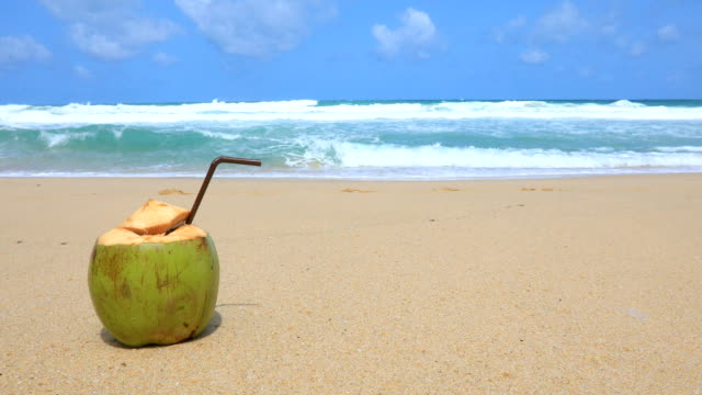 delicious fresh thai coconut cocktail at tropical beach on background. phuket, thailand. 4k - tropical cocktail stock videos & royalty-free footage