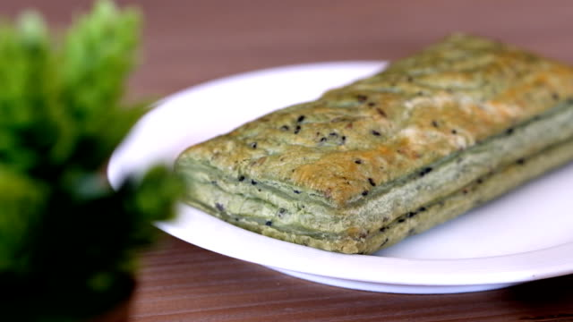 delicious green tea pie with red bean filling - green bean stock videos & royalty-free footage