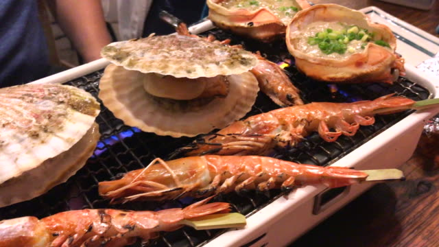 Delicious seafood grilled , Tokyo , Japan