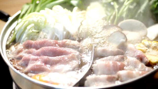 delicious shabu shabu with hot pod. - sukiyaki stock videos and b-roll footage
