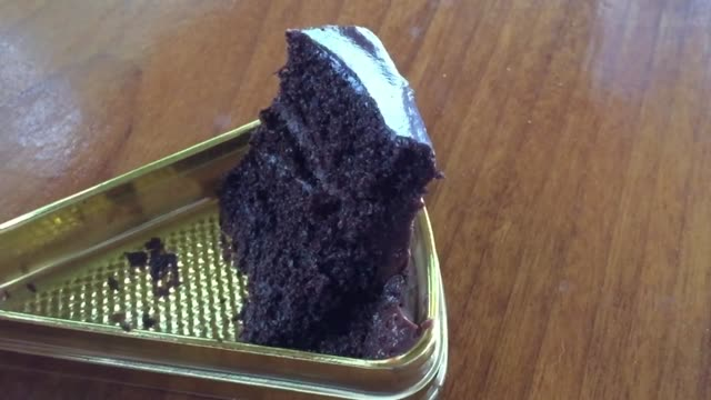 Delicious slice of chocolate cake