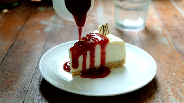 delicious strawberry cheesecake, dessert - elegance stock videos & royalty-free footage