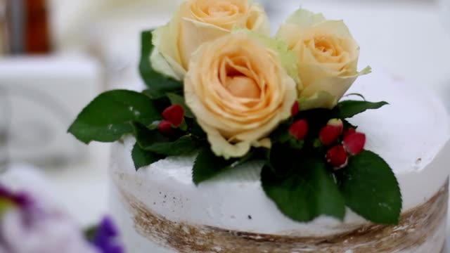 Delicious tasty wedding cake detail