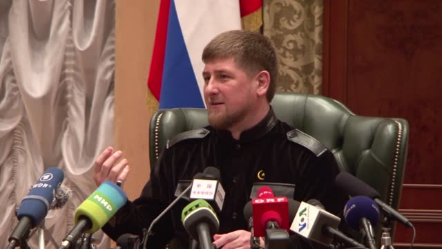 delirious chechen fans were spectators to an improbable scene on tuesday: their leader ramzan kadyrov scored a goal against brazil after squandering... - grosny stock-videos und b-roll-filmmaterial