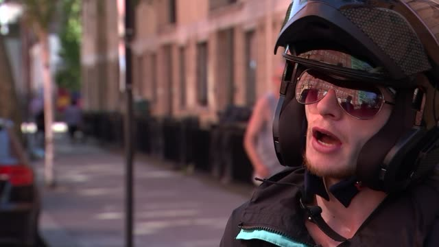 deliveroo drivers strike over new pay deal; 'stew' setup shots with reporter and interview sot 'stew' along on bike various shots deliveroo drivers... - new stock videos & royalty-free footage