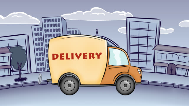 delivery car moving at empty city - audio available stock videos & royalty-free footage