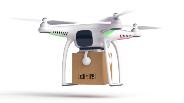 Leverans drone. Isolerade på vitt.