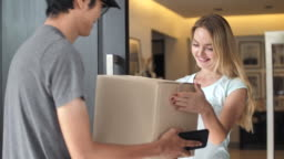 Delivery Man Package Delivery at home