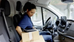 Delivery person going for delivering parcel in a van