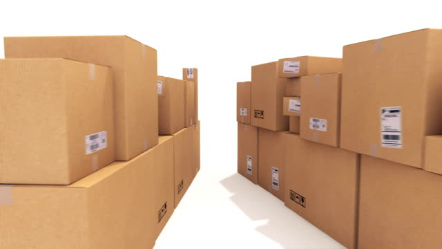 delivery word made of cardboard boxes - crate stock videos & royalty-free footage