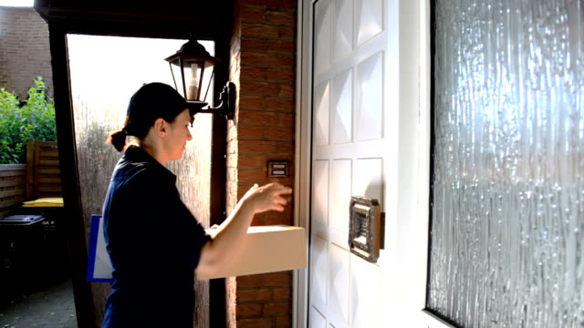 Delivery worker delivers packages