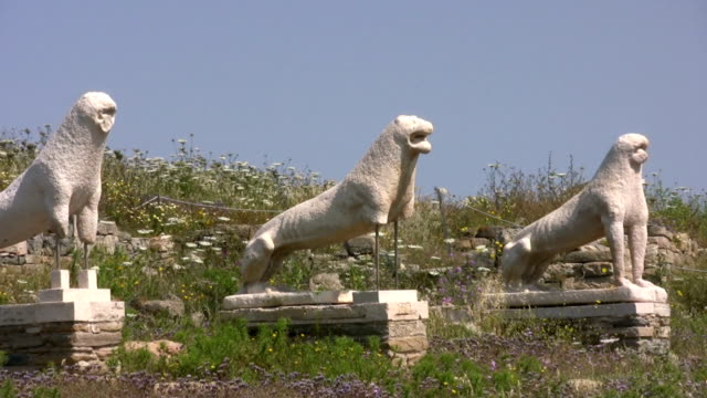 delos, lions of the naxians, cyclades, greece - greek mythology stock videos and b-roll footage