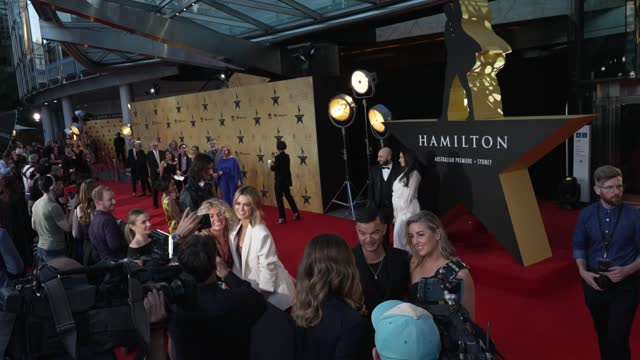 delta goodrem, guy sebastian and his wife jules sebastian during the australian premiere of hamilton at lyric theatre, star city on march 27, 2021 in... - premiere stock videos & royalty-free footage