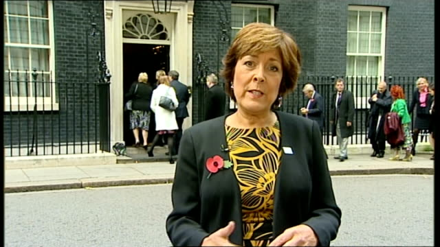 government initiative to train carers england london downign street ext lynda bellingham 2 way interview sot - lynda bellingham stock videos & royalty-free footage