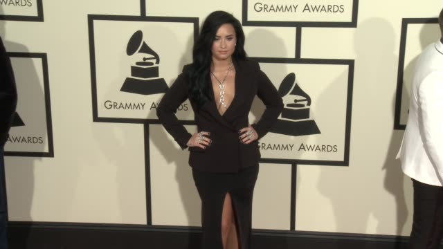 demi lovato at 58th annual grammy awards® - arrivals at staples center on february 15, 2016 in los angeles, california. - grammy awards stock videos & royalty-free footage