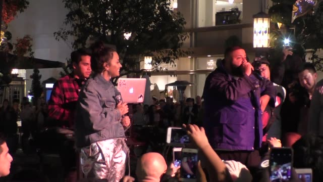 Demi Lovato DJ Khaled announce their concert tour at The Grove in Hollywood in Celebrity Sightings in Los Angeles