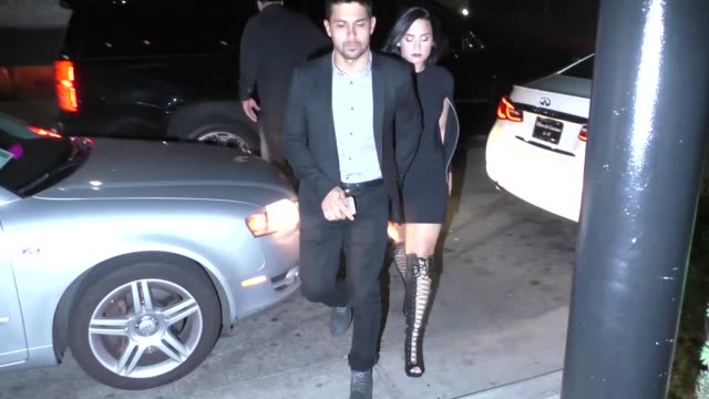 demi lovato wilmer valderrama have dinner at the three clubs in brentwood in celebrity sightings in los angeles - wilmer valderrama stock videos & royalty-free footage