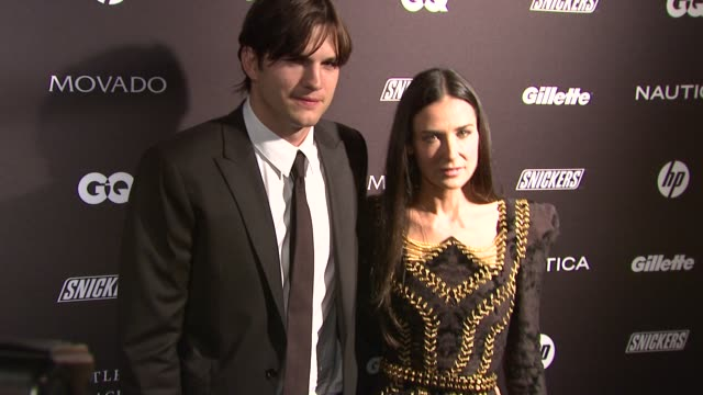 demi moore and ashton kutcher at the gq's the gentlemen's ball at new york ny. - ashton kutcher stock videos & royalty-free footage