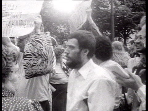 stockvideo's en b-roll-footage met democrat demonstration one of the first perestroika gatherings on pushkin square in moscow note at 00361919 pan on betacam camera w/ sticker of the... - 1986