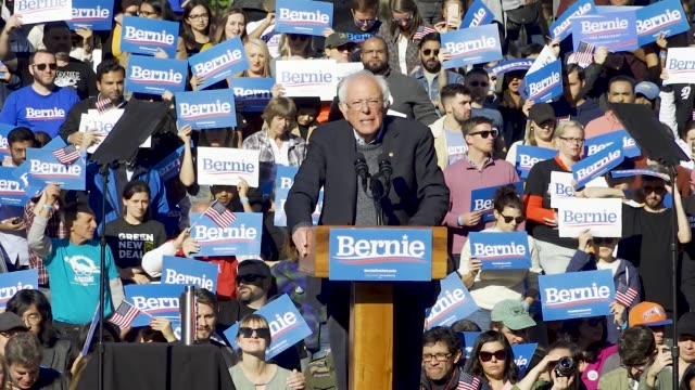 democratic 2020 presidential candidate senator bernie returns to the campaign trail after health problems – holds rally in queensbridge park in... - speech stock videos & royalty-free footage