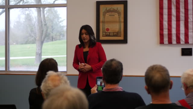 democratic candidate for president of the united states tulsi gabbard of hawaii speaks to veterans during a campaign stop at carpenters union local... - veterans of foreign wars of the united states stock videos & royalty-free footage