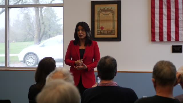 democratic candidate for president of the united states tulsi gabbard, of hawaii, speaks to veterans during a campaign stop at carpenters union local... - politics and government stock videos & royalty-free footage