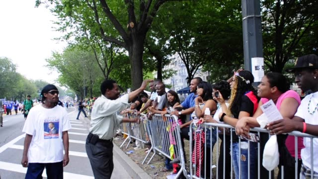 vídeos y material grabado en eventos de stock de democratic council member mathieu eugene running for district 40 in brooklyn campaigning during mayoral election in the labor day parade, eastern... - 2013