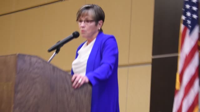 democratic governor of kansas laura kelly delivers the keynote speech at today's emporia state university constitution day event for high school... - governor stock videos & royalty-free footage