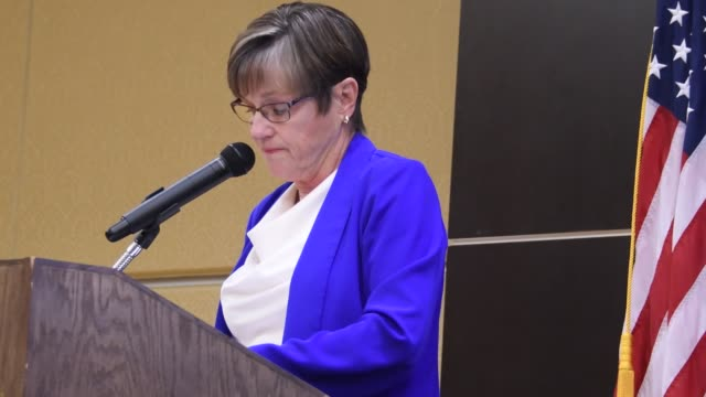 democratic governor of kansas laura kelly delivers the keynote speech at today's emporia state university constitution day event for high school... - 長点の映像素材/bロール
