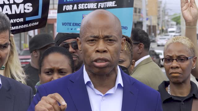 NY: Mayoral Candidate Eric Adams Holds Press Conference With NYC Sanitation Workers