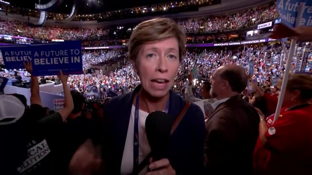 split between party and sanders supporters bernie sanders supporter saying no pan reporter to camera sot delegates chanting bernie sot reporter to... - headdress stock videos and b-roll footage