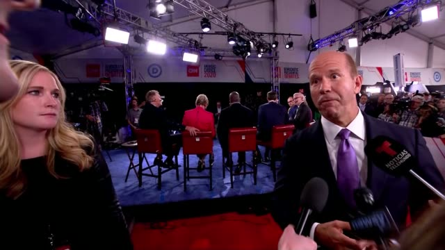 democratic party 2020 presidential debate takes place in detroit usa michigan detroit int john delaney interview sot - democratic party usa stock videos and b-roll footage