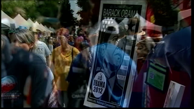 democratic party convention in north carolina bill clinton speech usa north carolina charlotte ext delegates along outside democratic party... - democratic party usa stock videos and b-roll footage