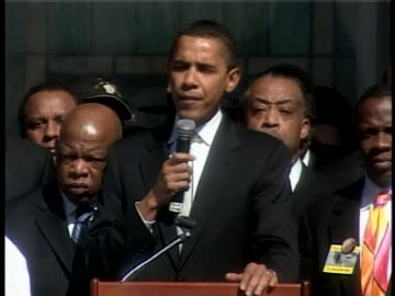 democratic party presidential candidate barack obama speaks at a pre-march rally outside brown chapel at the selma, alabama, civil-rights march... - 2007 stock videos & royalty-free footage