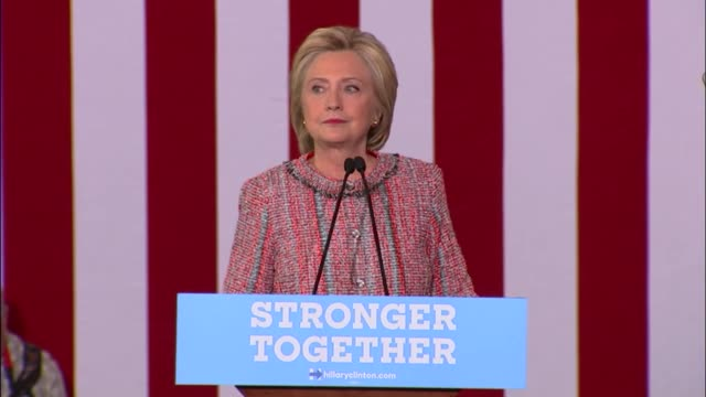 Democratic Party presidential candidate Hillary Clinton talks about the reasons why she is running for the presidency telling the story about a...