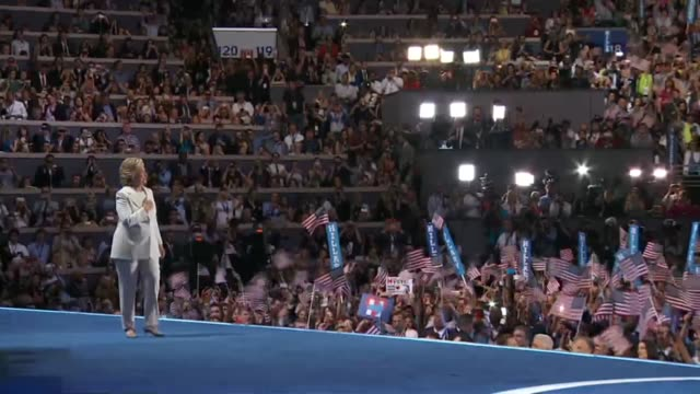 Democratic Party presidential candidate Hillary Clinton walks out on stage to the Fight Song by Rachel Platten to give her speech at the Democratic...