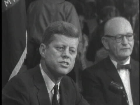 democratic party presidential candidate john f. kennedy campaigns in maine, speaking of republican congressmen obstructing legislation on housing,... - business or economy or employment and labor or financial market or finance or agriculture stock videos & royalty-free footage