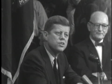 democratic party presidential candidate john f. kennedy campaigns in maine, speaking of america's decline in prestige during the eisenhower... - cold war stock videos & royalty-free footage