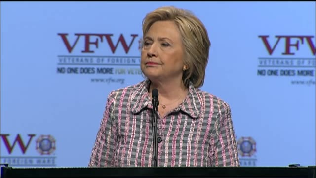 Democratic Party presidential nominee Hillary Clinton speaks at the 117th National Convention of the Veterans of Foreign Wars telling the audience...